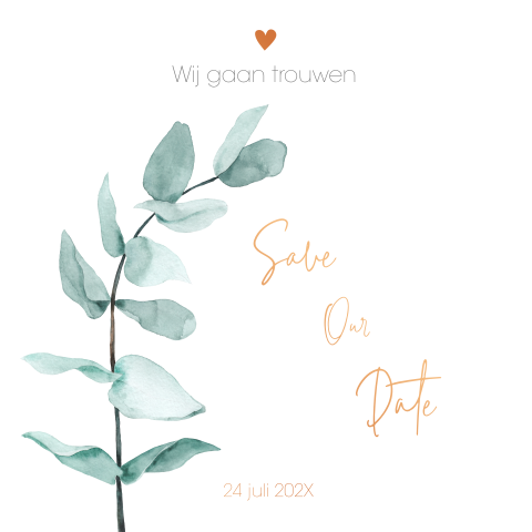 Save-the-Date kaart met eucalyptus (EF)