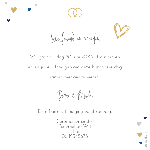 Save-the-Date kaart met hartjes