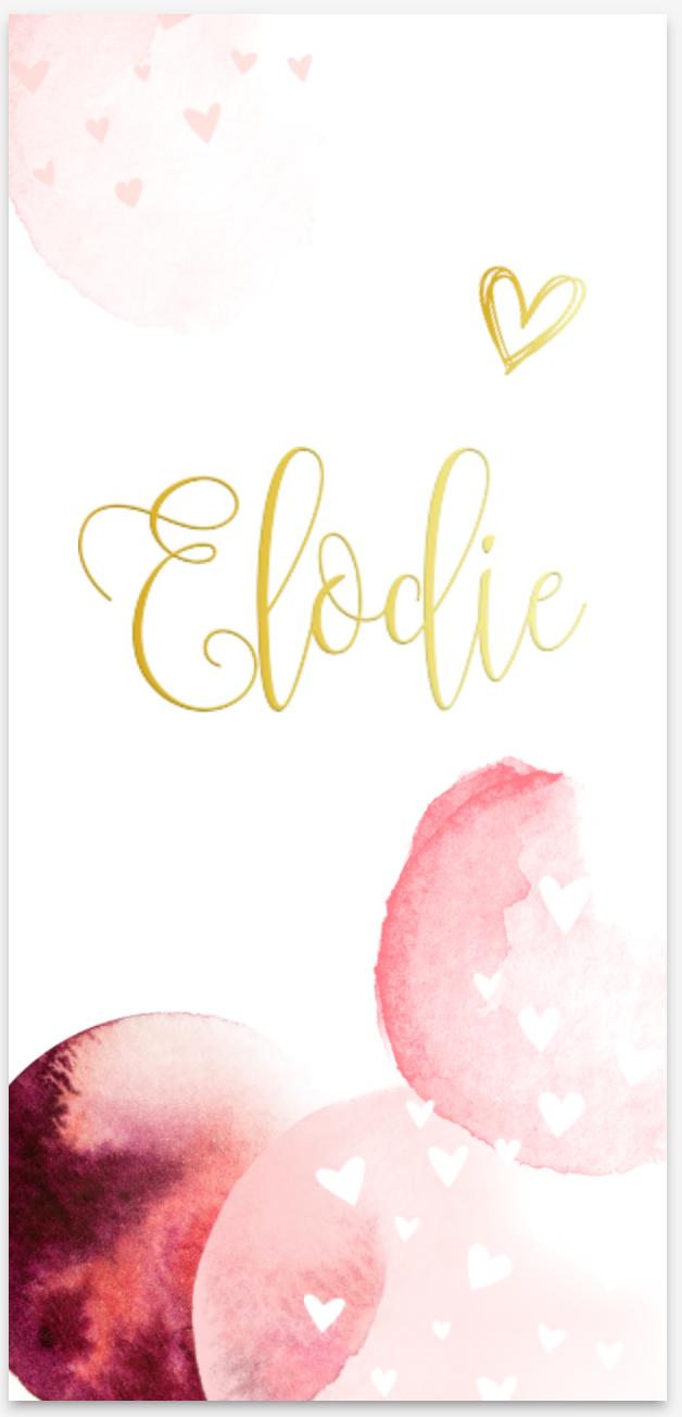 Lief geboortekaartje met watercolor en goudfolie van JilleJille.nl
