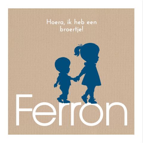 Trendy geboortekaartje met silhouet broertje en kraft JilleJille.nl - birth announcement-card