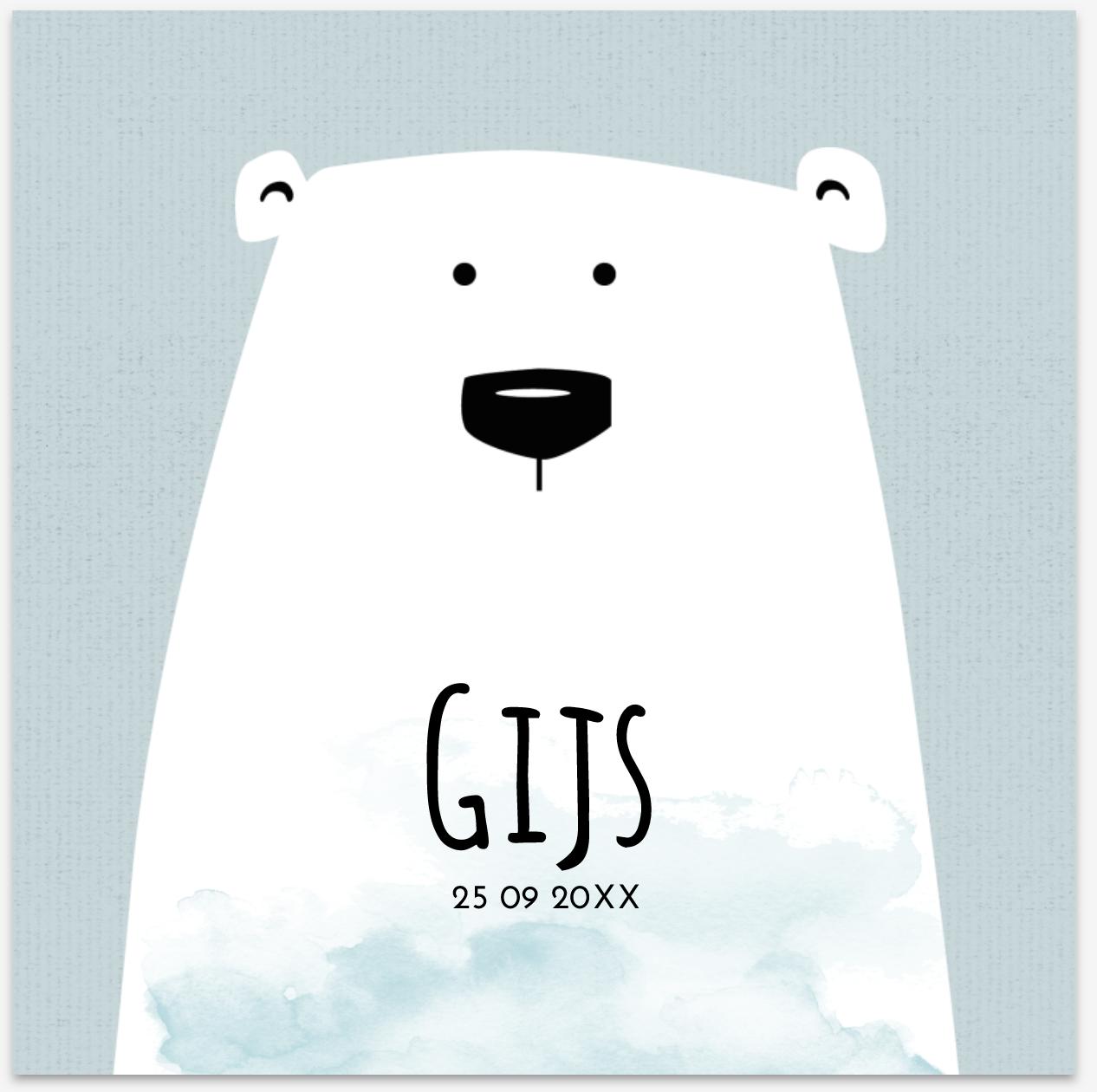 Lief geboortekaartje met ijsbeer van JilleJille.nl