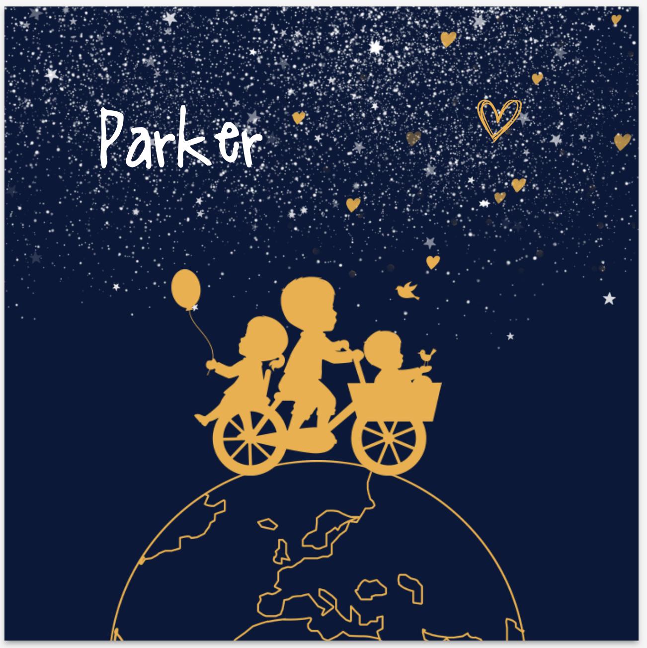Lief geboortekaartje met silhouet van kinderen op de fiets van JilleJille.nl