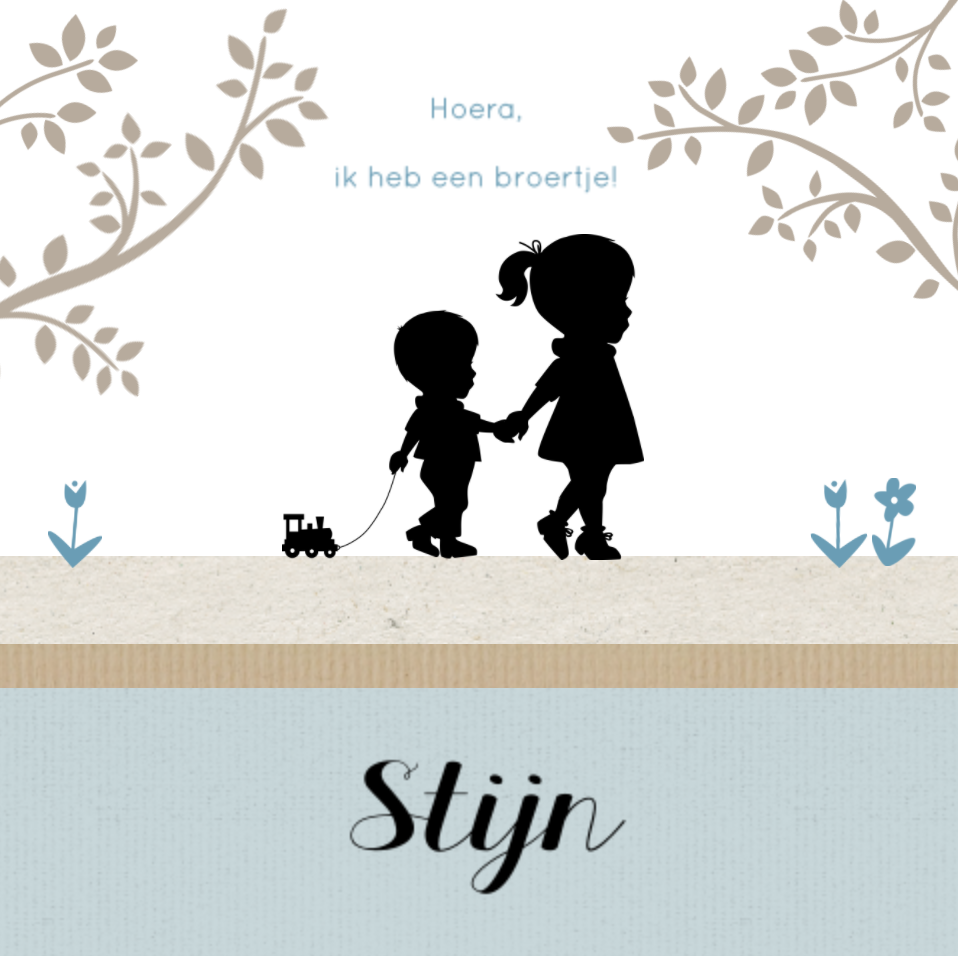 Lief geboortekaartje met silhouet van jongen JilleJille.nl