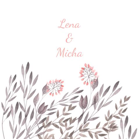 mooie trouwkaart waterverf bloemen veldbloemen- wedding card