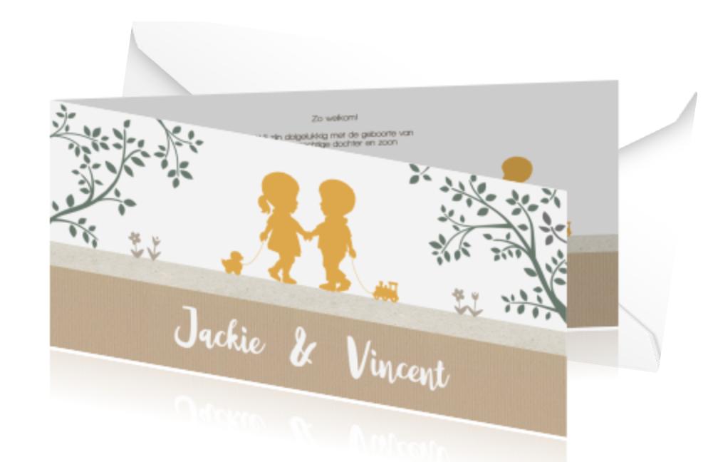 Lief tweelingkaartje met silhouet van jongen en meisje van JilleJille.nl
