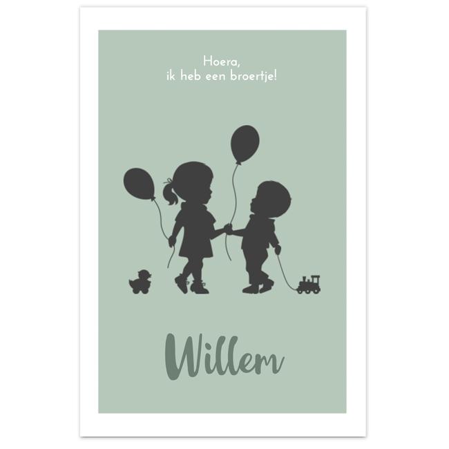 Lief geboortekaartje met silhouet van broertjes en zusjes JilleJille.nl