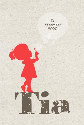 Lief geboortekaartje silhouet en kraft  bellen blazen- birth announcement card