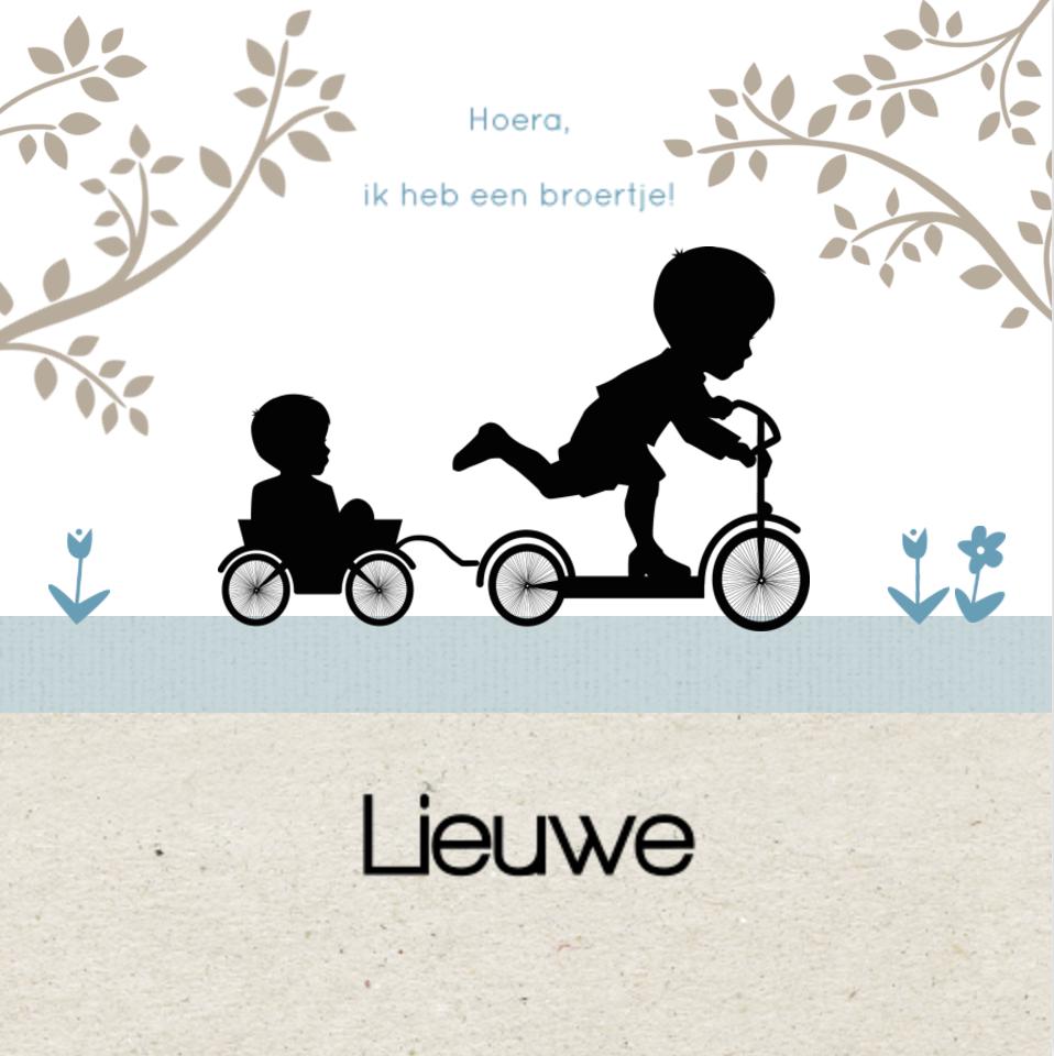 Lief geboortekaartje met silhouet van jongen van JilleJille.nl
