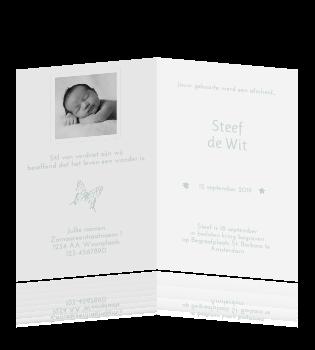 Lief staand rouwkaartje voor kind met retro vlinder - Teen moderne ruimte van de jongen ...