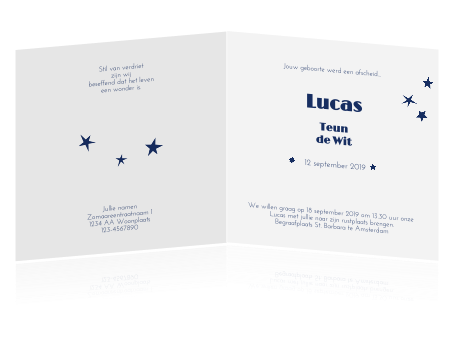 Lief Rouwkaartje Voor Baby En Kind Met Sterren