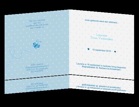 Lief Rouwkaartje Voor Baby En Kind Met Vlindertje En Sterren