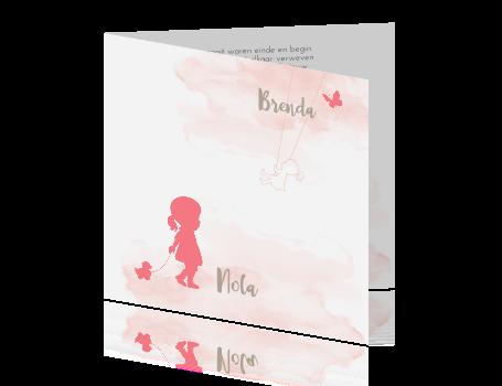 Rouwkaart voor tweeling waarvan een baby meisje is overleden