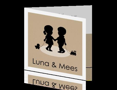 3f3219a34a253f Lieve tweelingkaart met silhouet jongen en meisje
