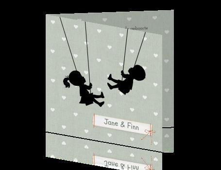1a35c7cf738d50 Vintage geboortekaartje tweeling schommel silhouet